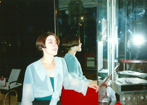 Back in the early 1990s, working at Braid's hair salon.