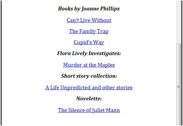 The list of books at the back of all my Kindle editions - updated every time a new book comes out.