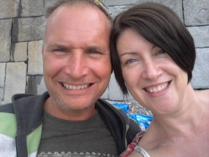 Memories of the summer hols - a me and hubby selfie taken at Criccieth beach